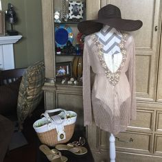 Victoria Secret Swim Cover up Victoria Secret Swim Cover up: bead detail is beautiful. Size M/M perfect for Poolside. This retails for over $120.00 on the website. Victoria's Secret Swim Coverups