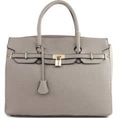 Designer Inspired Purses :Hermes Birkin -Similar Style: London Office Tote Large Size in Grey