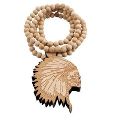 Yuan mutang Good Wood Indian Chief Head Pendant Necklace ,Wood jewelry Necklace