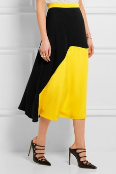 Bright-yellow and black silk-blend cady Concealed zip fastening along back 70% silk, 30% viscose; lining: 76% acetate, 18% silk, 6% polyamide Dry clean Made in the UK