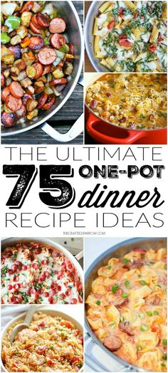Make meal planning and dinner clean-up a breeze with one of these great 75 One-Pot Dinner Recipe Ideas. So many delicious recipes in one spot - quick easy Vegetarian Recipes Dinner, Mexican Food Recipes, Dinner Recipes, Dinner Ideas, Crockpot Recipes, Cooking Recipes, Delicious Recipes, Casserole Recipes, Cooking Gadgets