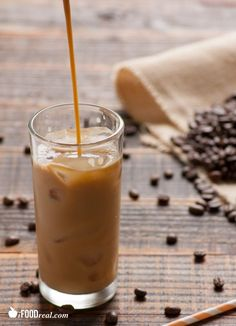 Skinny, Natural Iced Coffee - To make a large batch: 1 part cold, leftover coffee, 1 part unsweetened vanilla almond milk, Vanilla extract to taste. Pour over ice