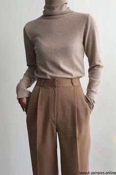 Minimal Neutral Outfit, beige turtleneck with brown pants #neutral #outfits #minimal