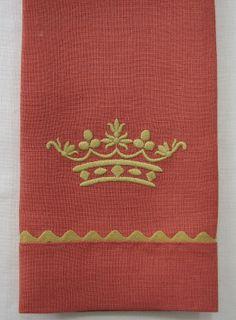 Ricrac Trim Linen Guest Towels with Crown Motif