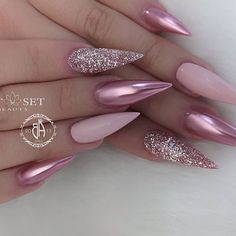 Best Ideas for blush pink nails acrylic stiletto Blush Pink Nails, Pink Stiletto Nails, Blue Nails, My Nails, Pointy Nails, Matte Pink, Pink Bling Nails, Bling Nail Art, Sparkle Nails