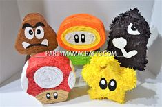 Please read shop announcement before purchasing!!!! 4 WEEK NOTICE PLEASE Mario bros characters set of 5 Mario mini pinatas will be a great for your guests to take home! Each mini pinata is about 5x5x2 Inches ( size may vary depending on the character) has a small opening for you to