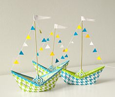 paper boat for centerpieces diy. Change the colors for a pirate them.