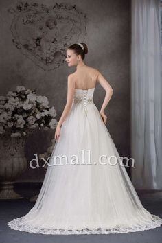 A-line Wedding Dresses Strapless Court Train Netting Satin Ivory 010010101316