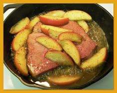 This was sooo yummy-AA. The Iowa Housewife: Country Ham Steak with Glazed Apples Entree Recipes, Cooking Recipes, Dinner Recipes, Budget Recipes, Quick Recipes, Delicious Recipes, Keto Recipes, Ham Steak Recipes, Apple Glaze