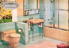 OMG! now I know who to blame - MCM peach and aqua bathroom from Wards, 1962. I do like the towel rails