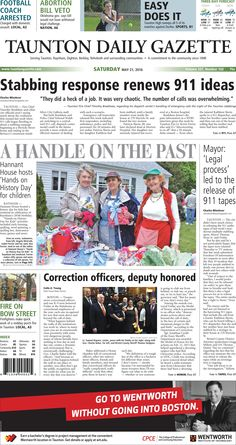 The front page of the Taunton Daily Gazette for Saturday, May 21, 2016.