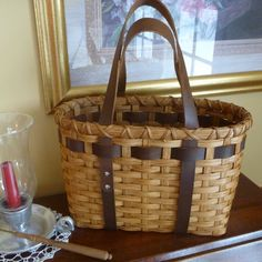 Little Leather Handled Tote Basket - Could use cute belts for this too.