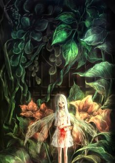 Sad Albino Anime fairy girl bleeding in the Garden Original wallpaper by Shoumigi2gou mangaka artist of pixiv 5 stars worthy - on anime kida - http://animekida.com/members/
