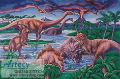 Dinosaurs Cross Stitch Pattern http://www.artecyshop.com/index.php?main_page=product_info&cPath=74_76&products_id=464