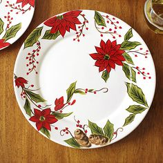 Hand-painted ceramic plate red with Christmas design