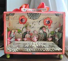 'Greetings from Wonderland' ~ art box (altered art) Altered Cigar Boxes, Altered Tins, Altered Art, Cigar Box Art, Cigar Box Crafts, Fun Crafts, Diy And Crafts, Paper Crafts, Handmade Crafts