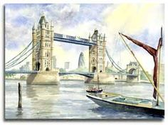 Original watercolour painting of Tower Bridge and the Gerkin, by artist Lesley Olver