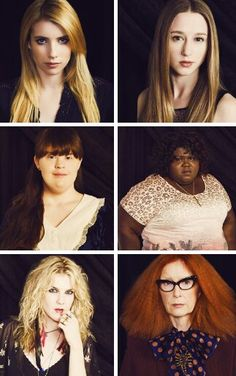 American Horror Story: Coven.  Madison,  Zoe,  Nan, Queenie, Misty, and Myrtle Snow