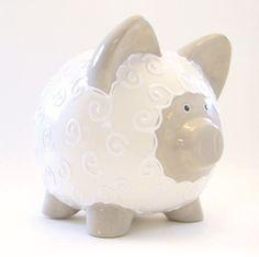 Beige & White Lamb Bank  Lamb Piggy Bank  by ThePigPen on Etsy, $45.50