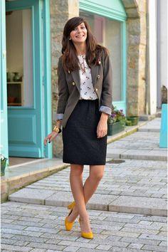 Olive-green-mango-blazer-zara-shirt-black-h-m-skirt