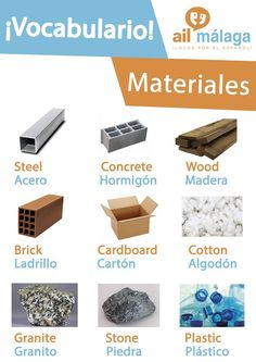 Here are different #materials in #Spanish :) #LearnSpanish #SpanishSchool #SpanishVocab