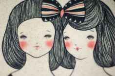 SISTERS hand painted original illustration plate by Min by minini, $200.00