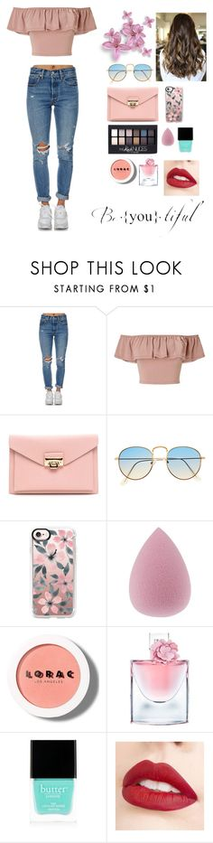 """""""Be you"""" by natushkiii ❤ liked on Polyvore featuring Levi's, Miss Selfridge, Casetify, Maybelline, LORAC, Lancôme, Butter London and Jouer"""