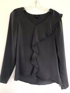 aaf56ab65a278b Ann Taylor Ruffle Front Cascade Shell Top Dark Gray Size XS Free shipping  #1028 #AnnTaylorLOFT #BLOUSE