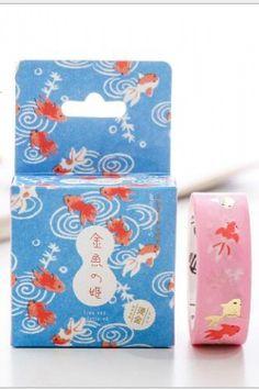 Photo1: Japanese Traditional Gilding Washi Masking Tape - Gold Fish