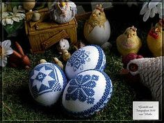 Egg ornaments, page includes free charts