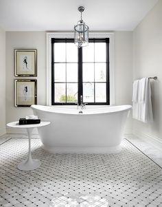 Dear Santa, I want this home for Christmas Paint color is Benjamin Moore Edgecomb gray Bathroom Renos, Grey Bathrooms, Beautiful Bathrooms, Master Bathrooms, Bathroom Ideas, Master Tub, Bathroom Table, Bathroom Gray, Concrete Bathroom