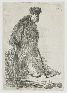 Man in a coat and fur cap leaning against a bank - Rembrandt