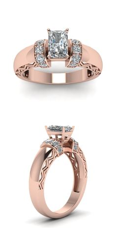 Radiant Pave Carved Shank 1 Carat Engagement Ring with Diamonds in 18K Rose Gold