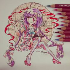 "My oc Michan Amaretto ""Painted with pencil cretacolor and inked pen uni pin""…"