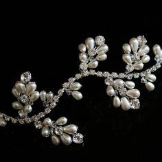 Hair Vine made with Swarovski Diamante Rhinestones & Pearls by Goddess Bridal Accessories
