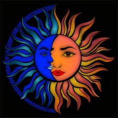 Picture by Drew B. - Picture by Drew B. Moon Sun Tattoo, Sun Tattoos, Frida Art, Moon Drawing, Sun Moon Stars, Sun Art, Hippie Art, Painted Rocks, Art Projects