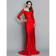 Trumpet/Mermaid V-neck Sweep/Brush Train Knit And Lace Evening Dress (723504) – USD $ 179.99