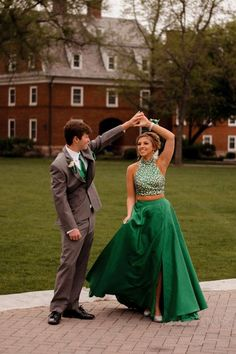 Green Two Piece Floor Length Halter Sleeveless Keyhole Back Beading Prom Dress,Formal Dress Prom Pictures Couples, Prom Couples, Prom Photos, Dance Pictures, Prom Pics, Cute Homecoming Pictures, Homecoming Poses, Senior Prom, Formal Dance