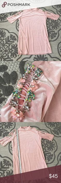 Nasty gal collection beaded dress sz 10 pink velve Beautiful velvet dress by nasty gal collection size 10. Gorgeous beaded shoulder details. Perfect for the holidays! Nasty Gal Dresses Mini