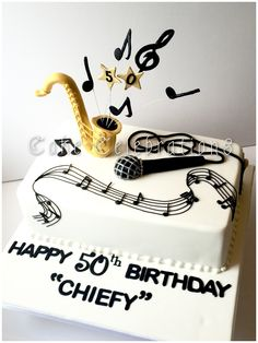 50th Birthday cake for a friends partner who loves playing the saxophone…