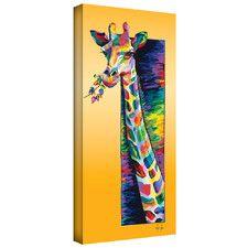 'Giraffe Eating' by Linzi Lynn Gallery-Wrapped on Canvas
