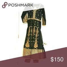 Indian dress A long black designer dress with traditional work on front and back. The dress has front slit worn with pink pants with work on the bottom of the pants Dresses Long Sleeve
