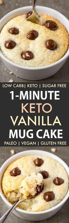 1 Minute Keto Vanilla Mug Cake (Paleo, Vegan, Sugar Free, Low Carb) - An easy mug cake recipe which takes one minute and is super fluffy, light and packed with protein! Desserts Sains, Low Carb Desserts, Low Carb Recipes, Paleo Recipes, Easy Desserts, Protein Desserts, Free Recipes, Diabetic Desserts, Pescatarian Recipes