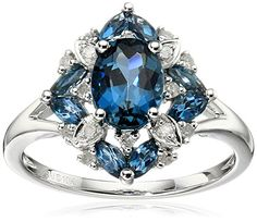 10k White Gold London Blue Topaz and Diamond Ring