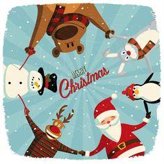 [フリーイラスト素材] イラスト, クリスマス, 12月, 行事 / イベント, 冬, 円陣, 手をつなぐ, サンタクロース, トナカイ, 雪だるま, メリークリスマス, EPS ID:201411100900