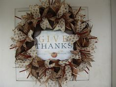 Only 45 Dollars...WHAT?  Thanksgiving Fall Autumn GIVE THANKS Deco Mesh Door Wreath, Wall, Gift, Get Together, Party, Peanuts by JandJPrettyThings on Etsy