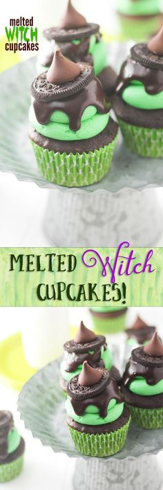 Melted Witch Cupcakes to make for Halloween! So cute and so easy! Halloween Donuts, Halloween Cake Pops, Halloween Desserts, Halloween Torte, Halloween Goodies, Halloween Food For Party, Holiday Desserts, Holiday Baking, Holiday Treats