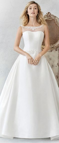 Elegant Tulle & Satin Bateau Neckline A-Line Wedding Dresses With Beadings