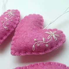 Heart ornament - felt ornaments - Valentine's day/Birthday/Christmas/Baby/It's a Girl/Housewarming home decor by grabacoffee on Etsy https://www.etsy.com/listing/164843386/heart-ornament-felt-ornaments-valentines