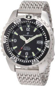Momentum Men's 1M-DV06B0 M1 Deep 6 Black Bezel Stainless-Steel Dive Watch Momentum. $204.95. Offset screw-down crown, luminous hands and indexes. Dive and water sports watch, black dial. Exploding date feature, 47mm solid steel case. Water-resistant to 660 feet (200 M). Unidirectional bezel